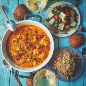 Zuppa di rana pescatrice cous cous di farro e insalata zucca e rucola