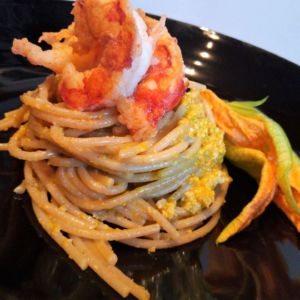 Manuela - Spaghetti integrali con pesto ai fiori di zucca e gamberi