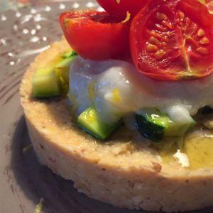 Federica - Hummus di ceci con tomino grigliato e pomodori confit