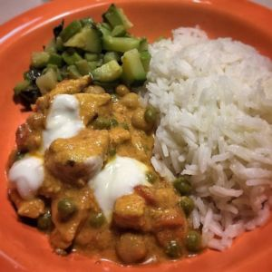 Stefania - Pollo al curry e latte di cocco con basmati al lime e zucchine