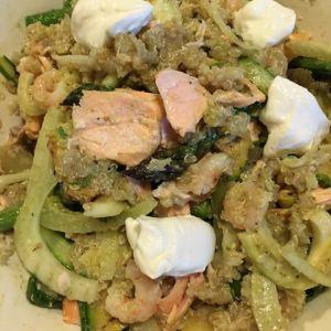 Stefania - Insalata di quinoa con asparagi, zucchine, finocchi e salmone al lime