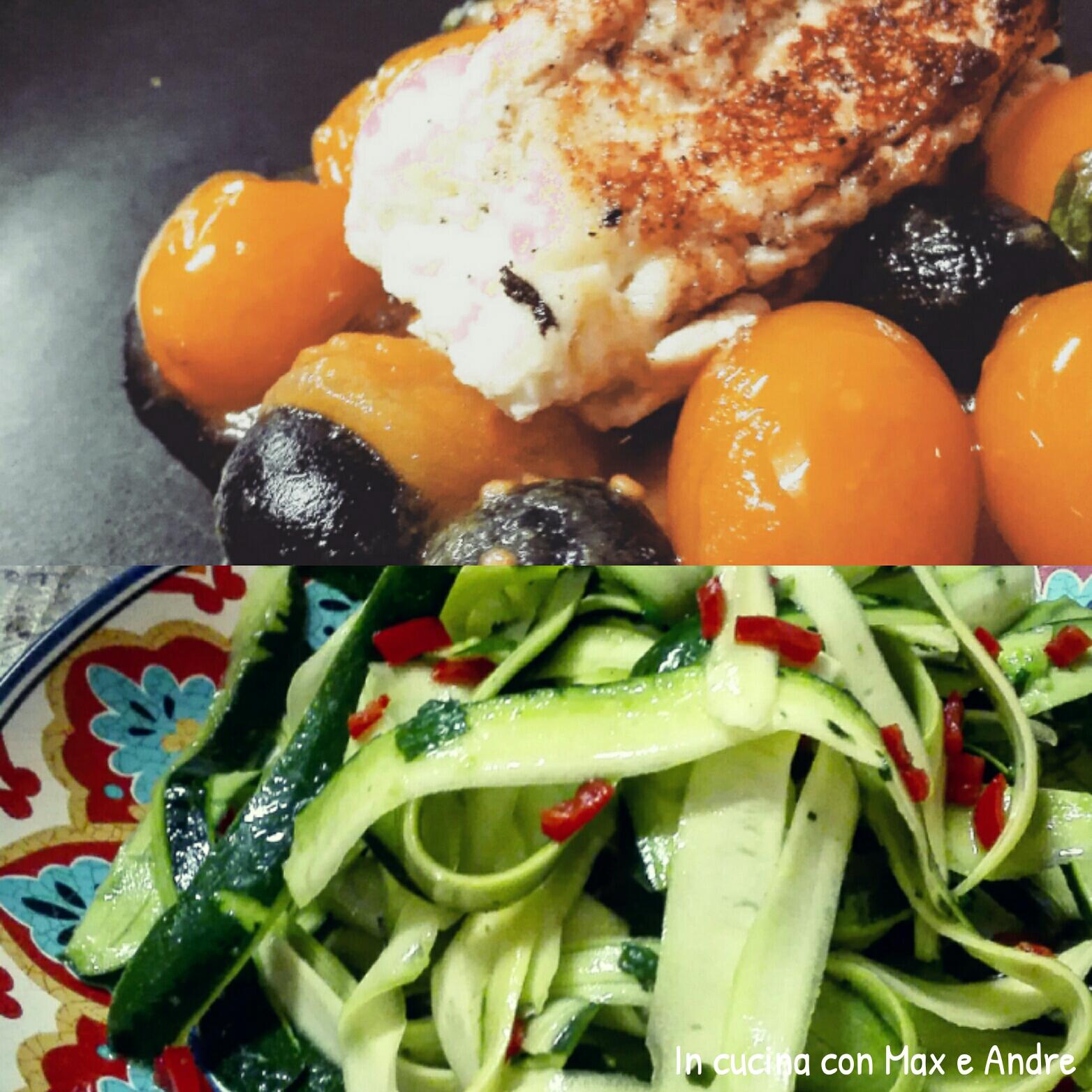 Frittelle di ricotta con salsa ed insalata di zucchine