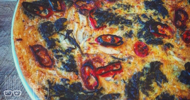 Farinata di ceci con spinaci finocchi e peperoncino