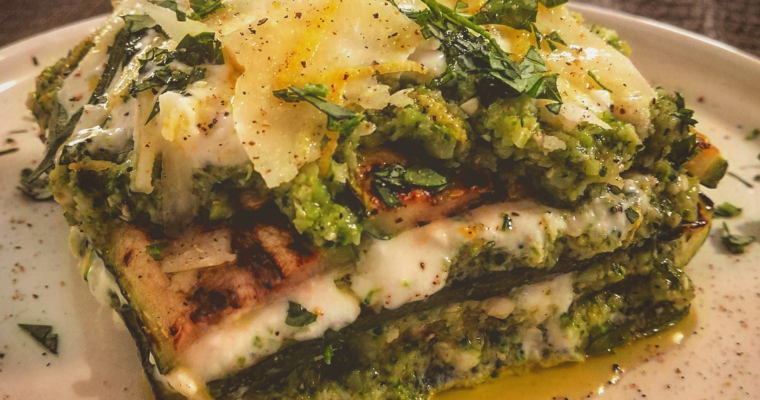 Millefoglie di zucchine con stracchino e broccoli