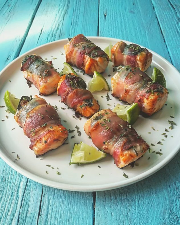 Bocconcini di salmone al lime in pancetta