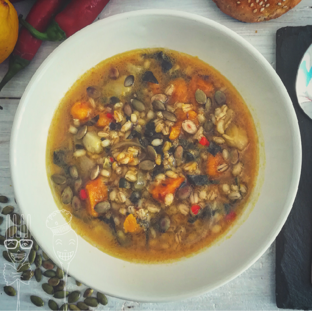Zuppa d'orzo con bietole e zucca
