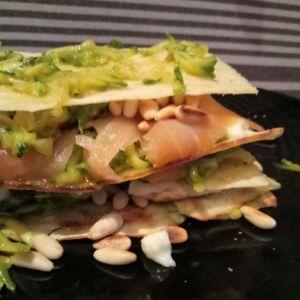 Manuela - Lasagnetta fredda di pane guttiau con zucchine salmone e stracchino