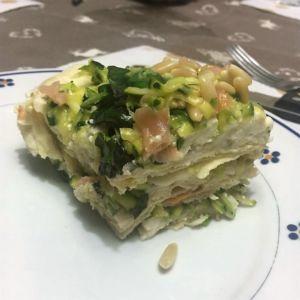 Simona - Lasagnetta fredda di pane guttiau con zucchine salmone e stracchino