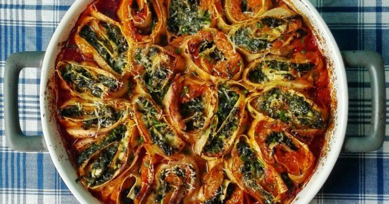 Rotoli di zucca, spinaci e feta
