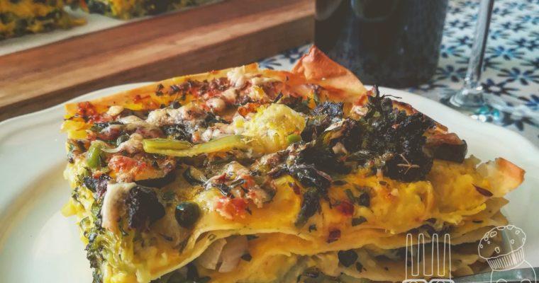 Lasagne di verdure con zafferano e cacio