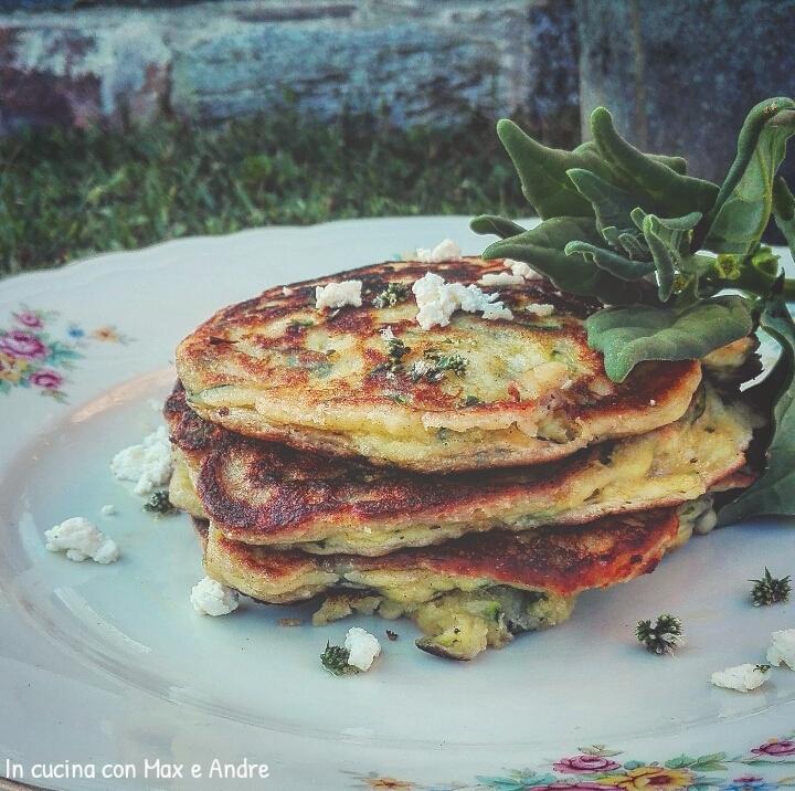 Pancake salati con zucchine ricotta e spinacino