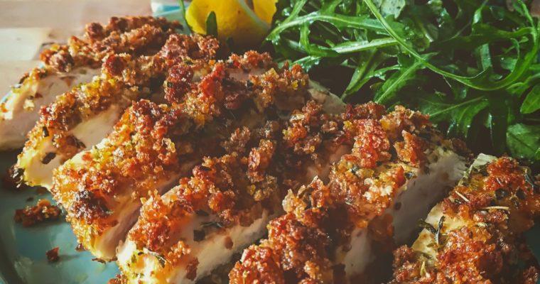 Pollo croccante al forno