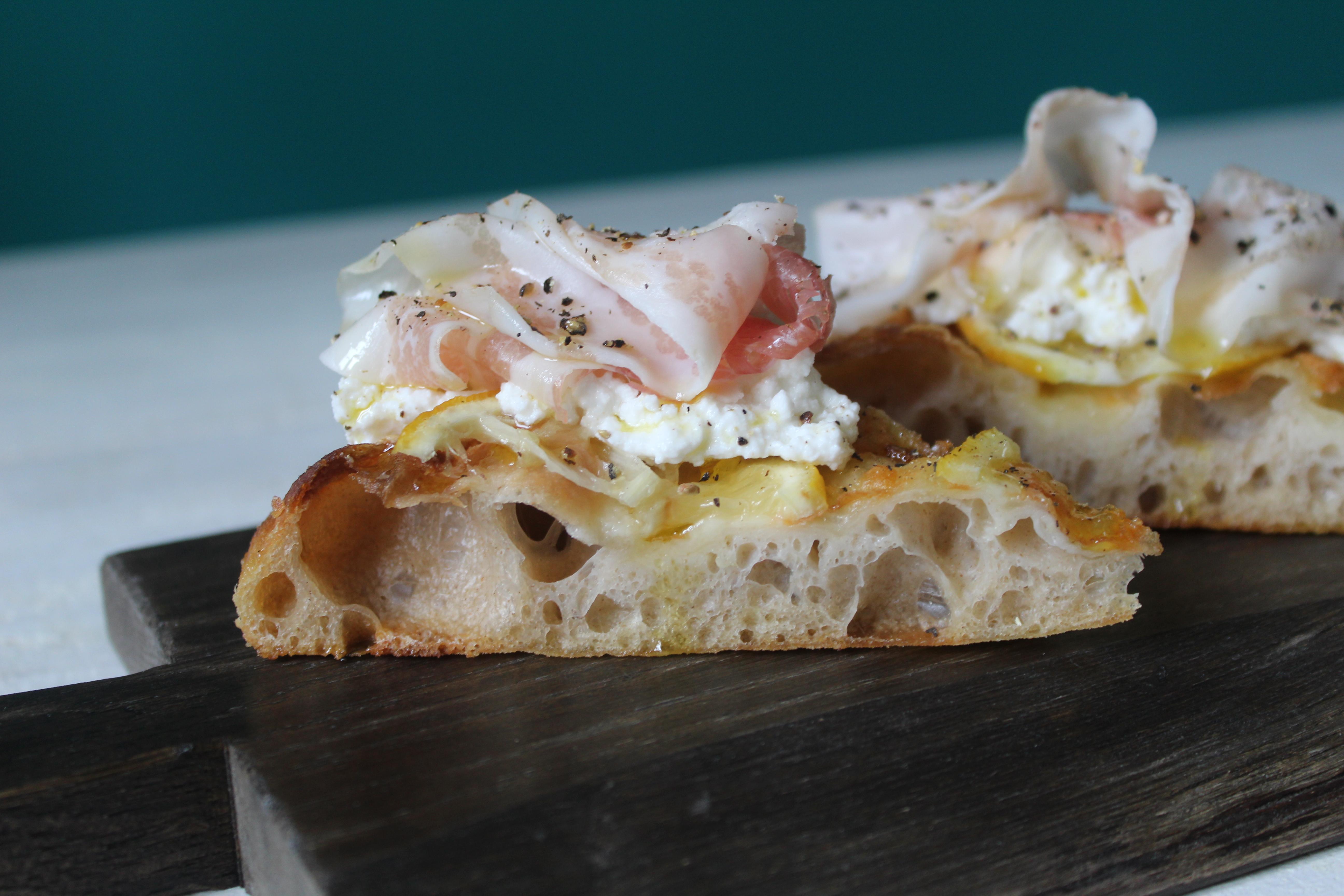 Pizza ricotta pancetta e limone