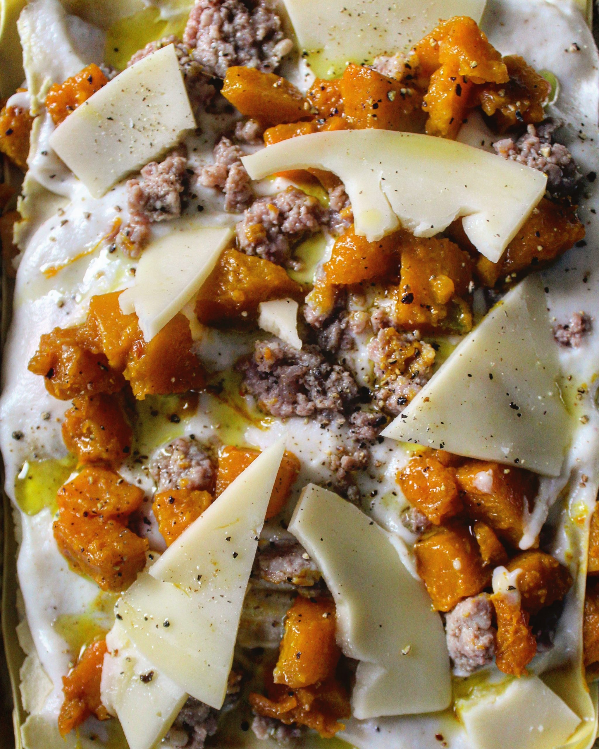 Lasagna zucca, salsiccia e cacio