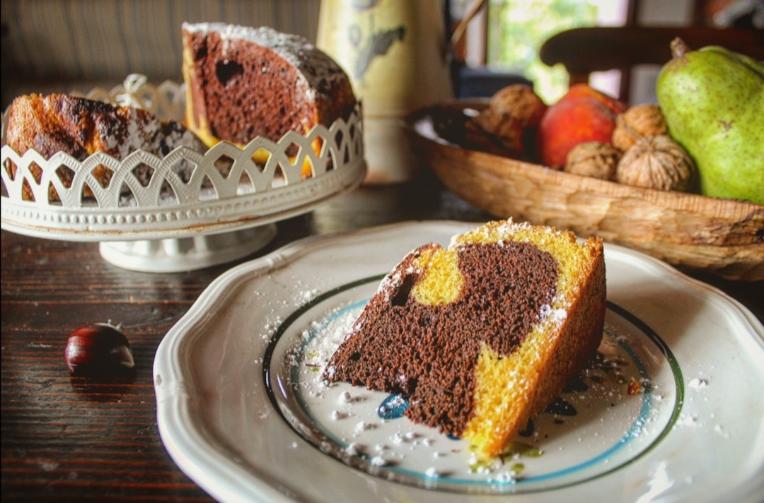 Torta soffice bicolore
