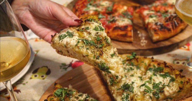 Pizza patate al curry zola e prezzemolo