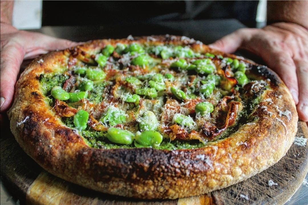 Pizza con crema di zucchine bacon fave e pecorino