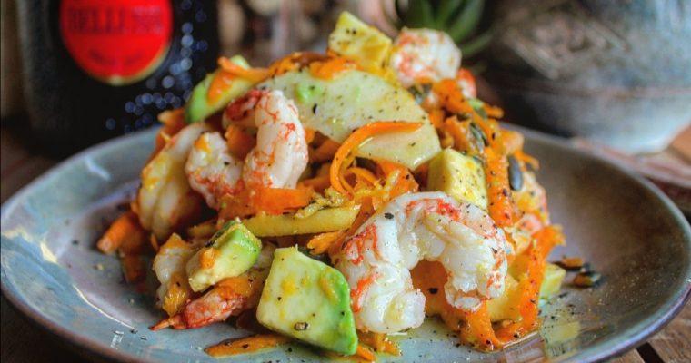 Insalata di gamberi avocado e carote