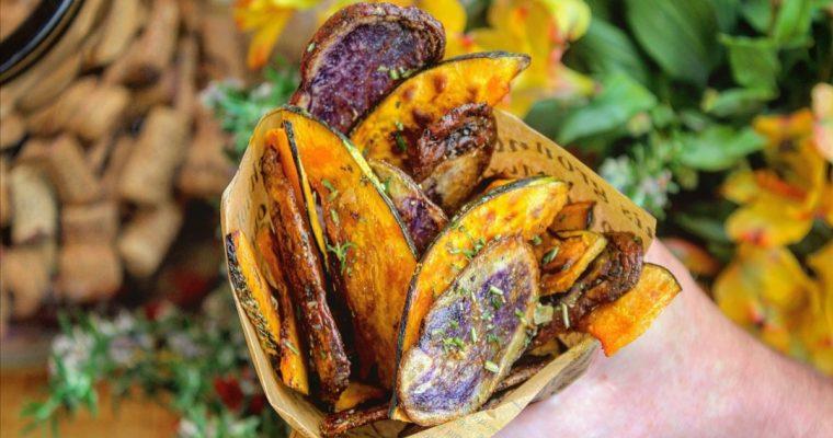 Chips di zucca e patate viola