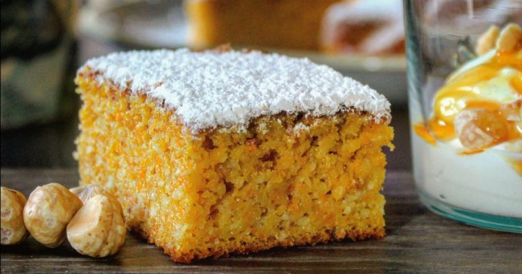 Torta morbida di carote mandorle e nocciole