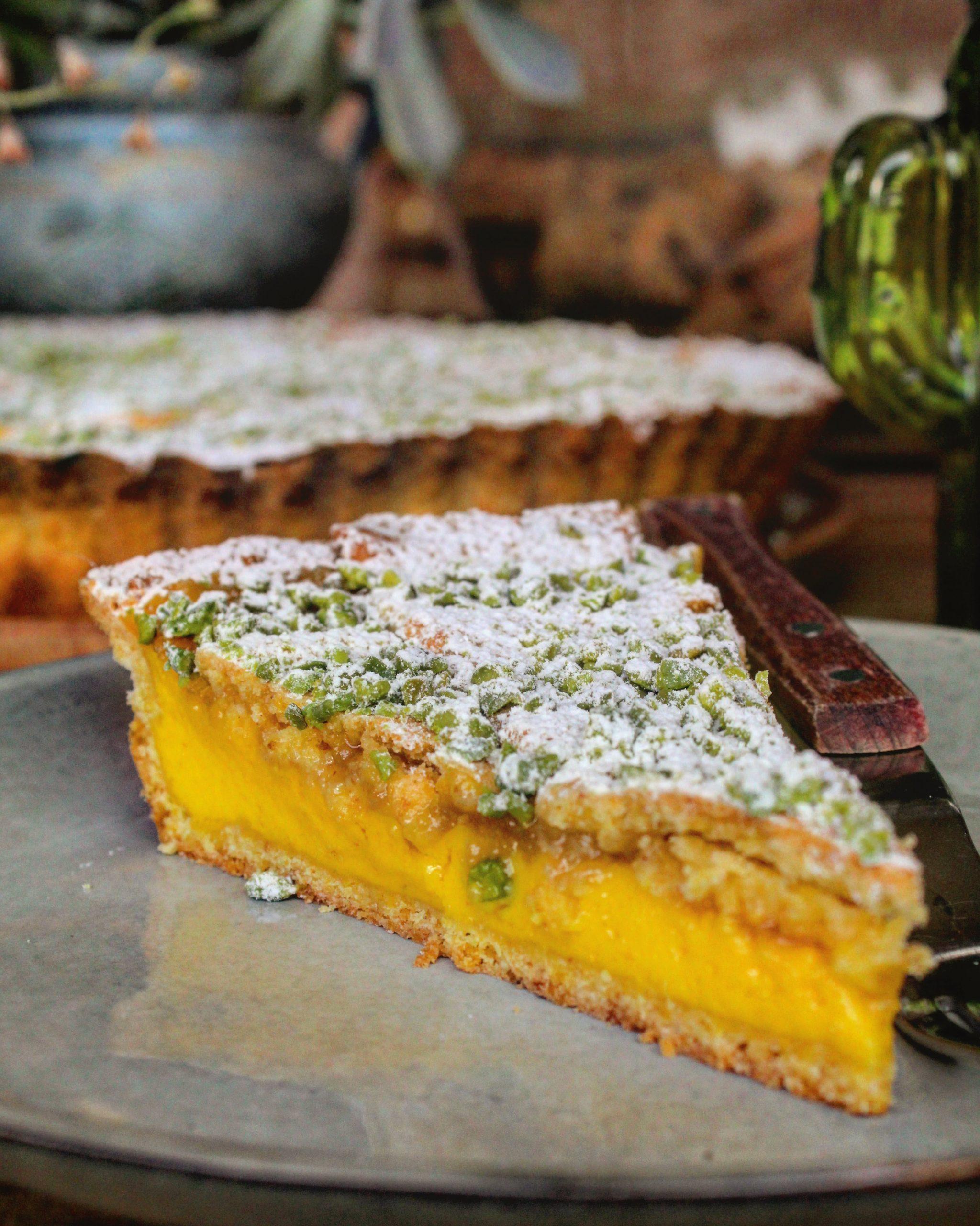 Crostata con crema marmellata di limoni e pistacchi