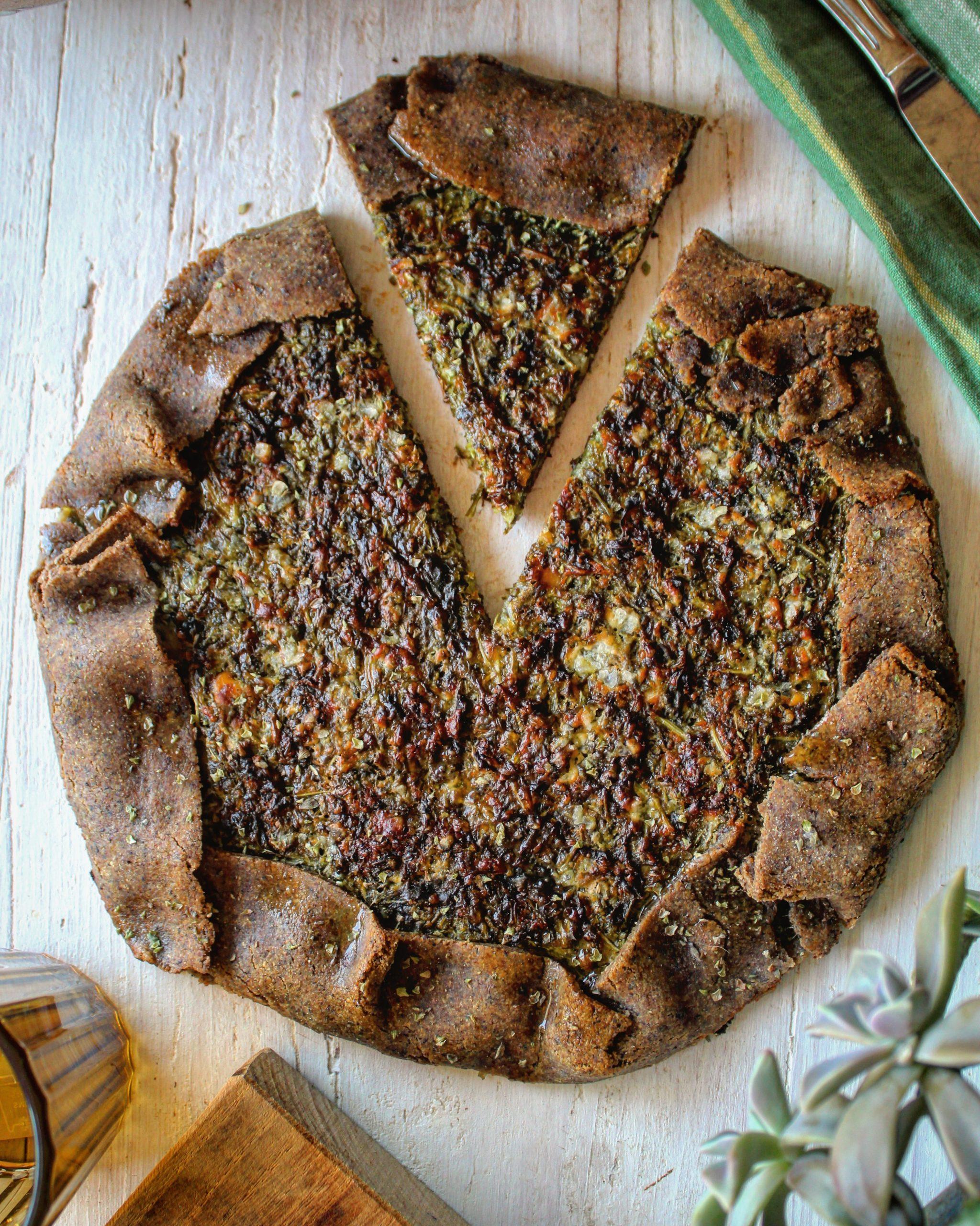 Quiche con farina di grano saraceno rucola e squacquerone