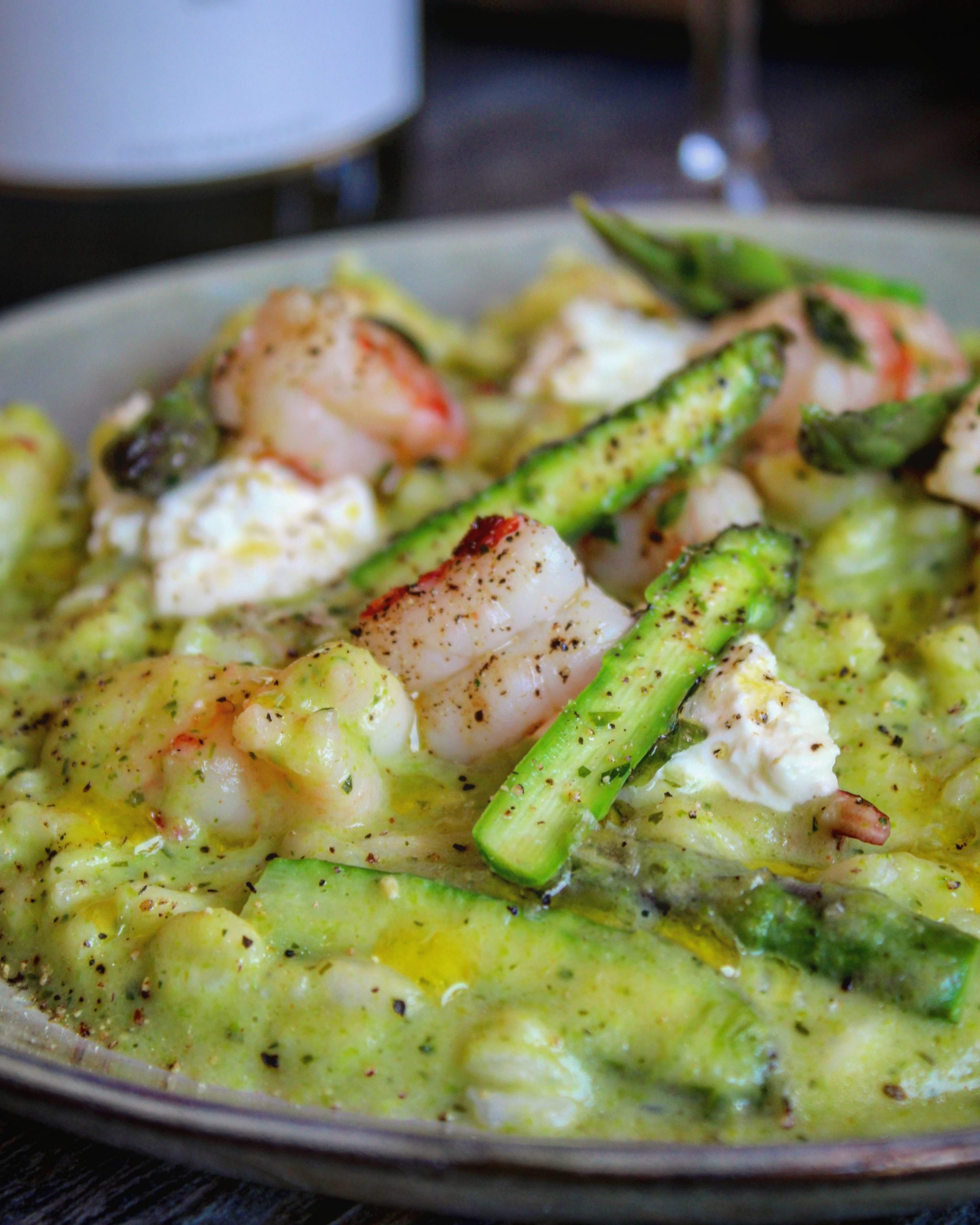 Risotto con asparagi gamberi e robiola