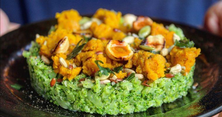 Hummus di broccoli crumble di zucca e nocciole